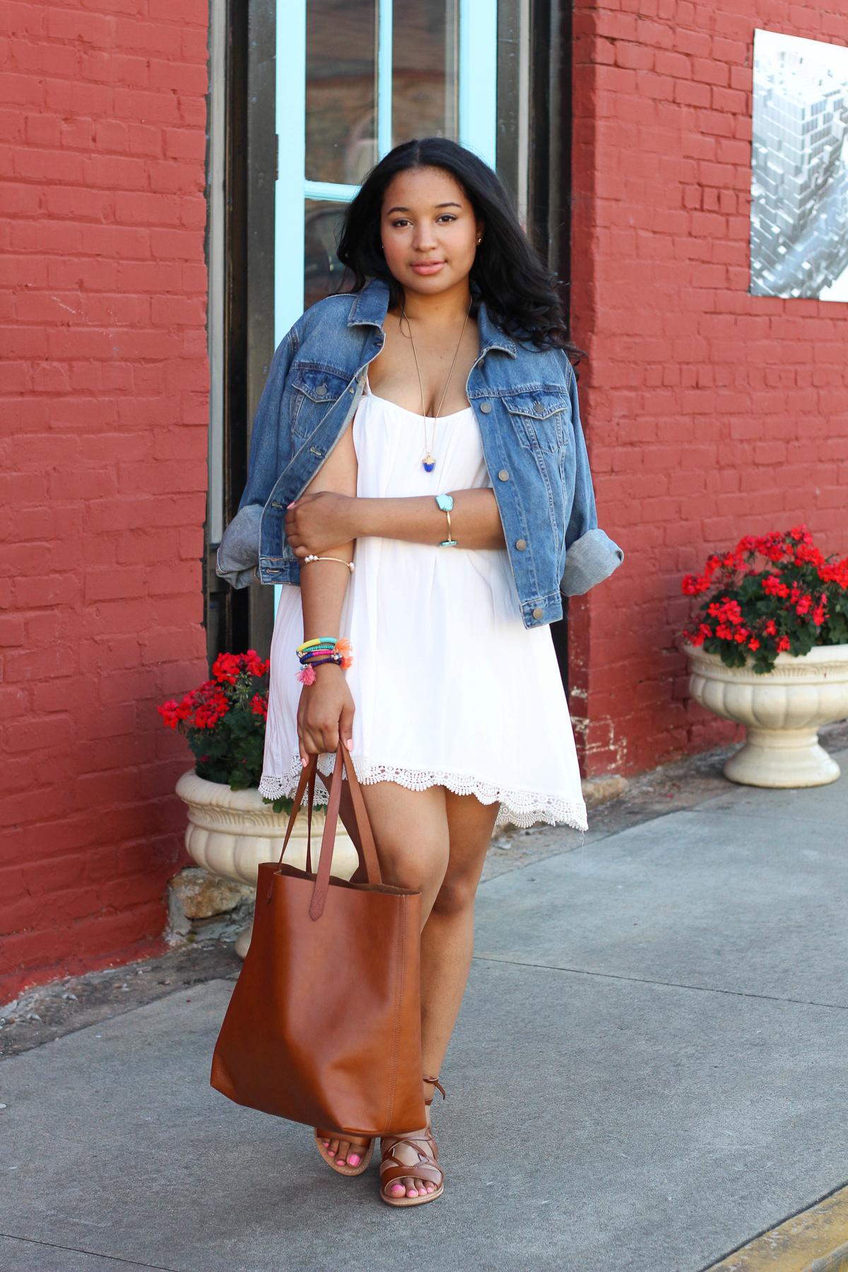 White Crochet Trim Dress