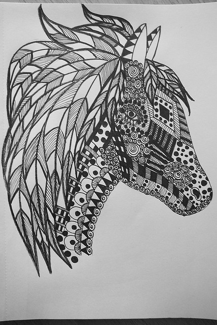 Black and White Zentangled Horse Head