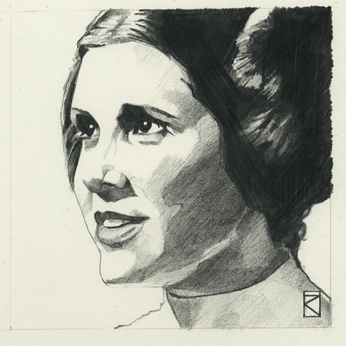 Star Wars illustrations by Russell Walks - Princess Leia