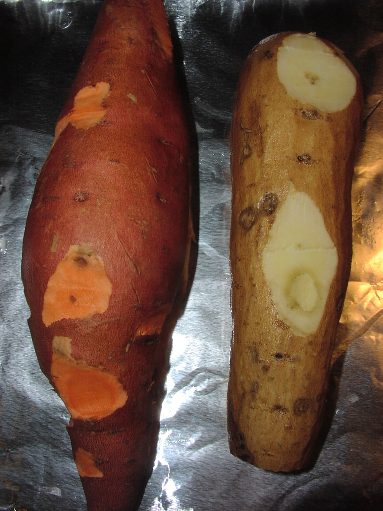 Yam vs sweet potato on the left is a typical yam sold in flickr - White potato vs red potato ...