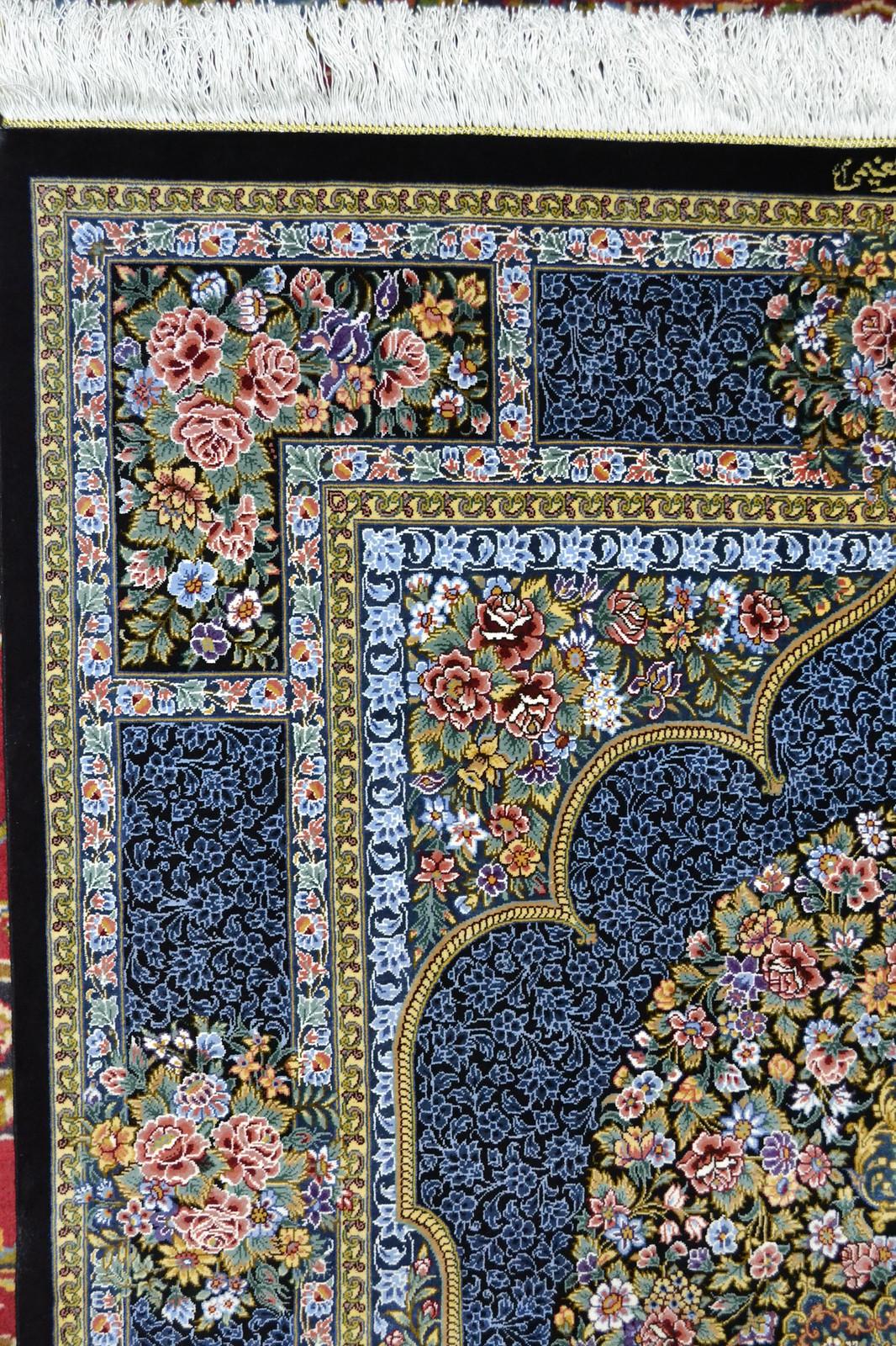 Qum Pure Silk Persian Rug Blue 3x5 Masterpiece 1000 KPSI (6)