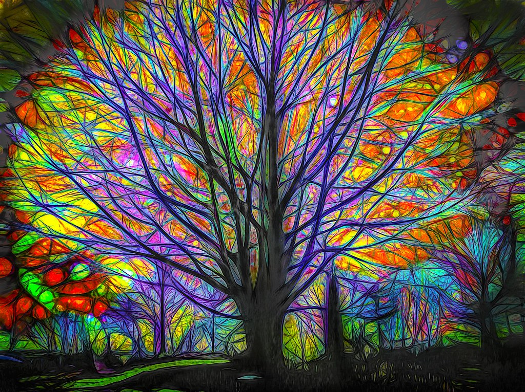 Digital stained glass tree remake of one my oldest