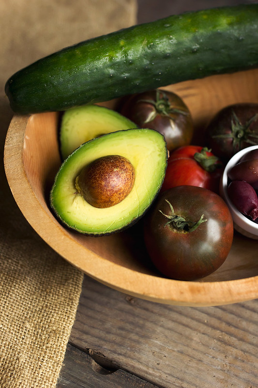 Tomato Cucumber Salad with Avocado and Olives