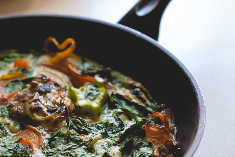 Spinach and sweet potato frittata