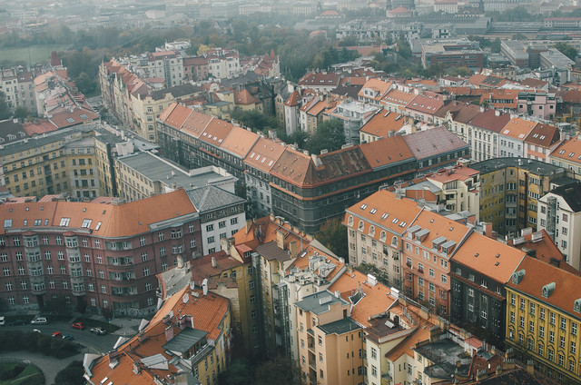 The red roofs of Prague from the Žižkov Television Tower.