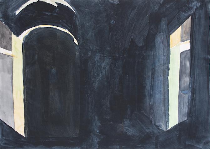 Tobias Buckel_oT(Fragmente)_2014_watercolor-vinyl-papier_30x42cm