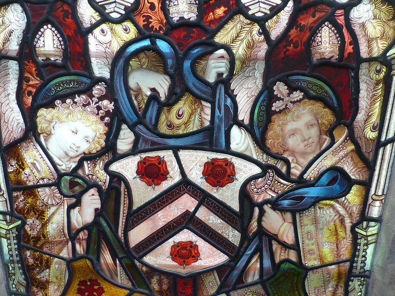 This is a picture of stained glass panel in University Church of St Mary the Virgin