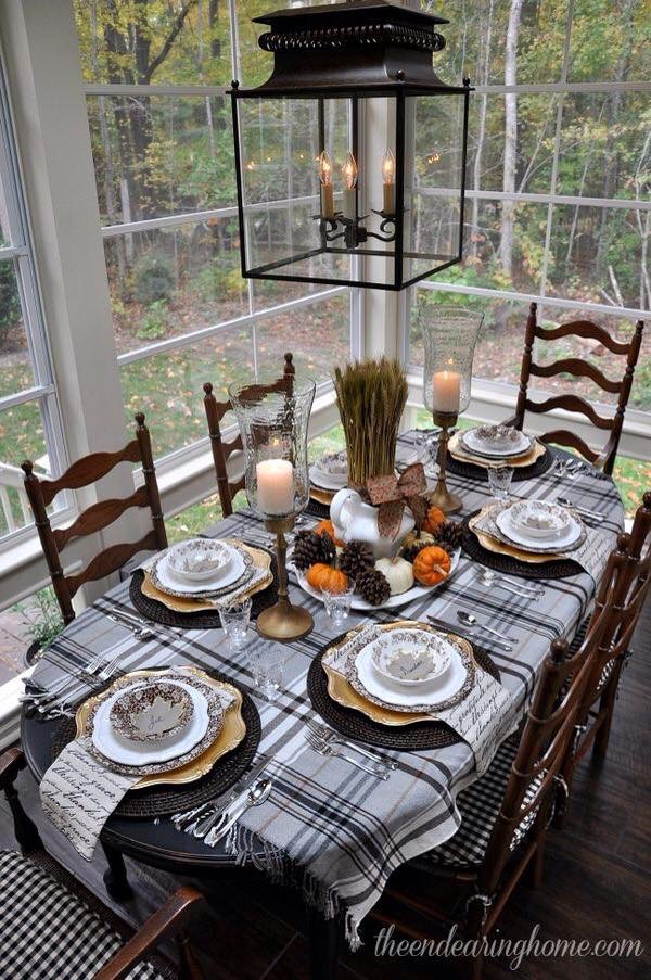 Country Holiday Tablescape | Plaid Tablecloth | Pumpkin Pine Cone Centerpiece