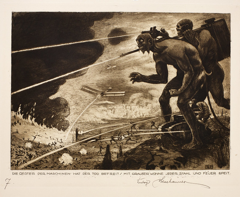 "Ludwig Hesshaimer - Spirits of the Machine - ""Death has freed the spirits of the machines, each spitting steel and fire with horrible delight,"" 1921"