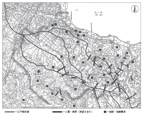 阿見町周辺土塁・城館分布図