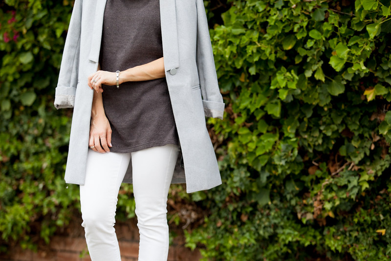 Grey coat, white jeans