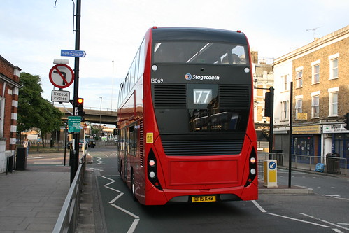 Rear of Stagecoach London 13069 on Route 177, East Greenwich Library