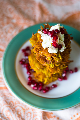 Saffron Latkes with Herbed Feta and Pomegranate | by FerraroKitchen1