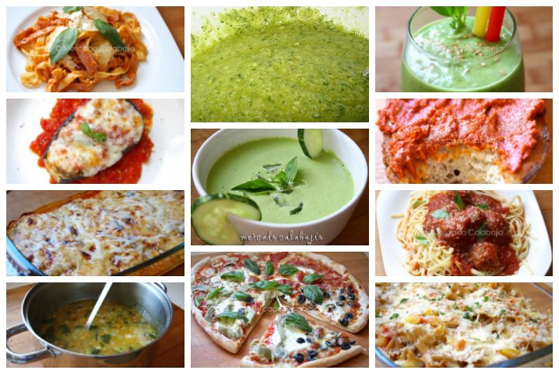 Collage recetas albahaca