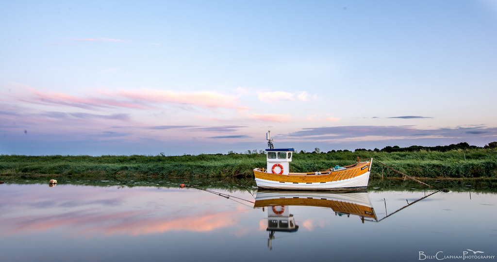 saltfleet haven, boat, sunset, dusk, reflection, Lincolnshire