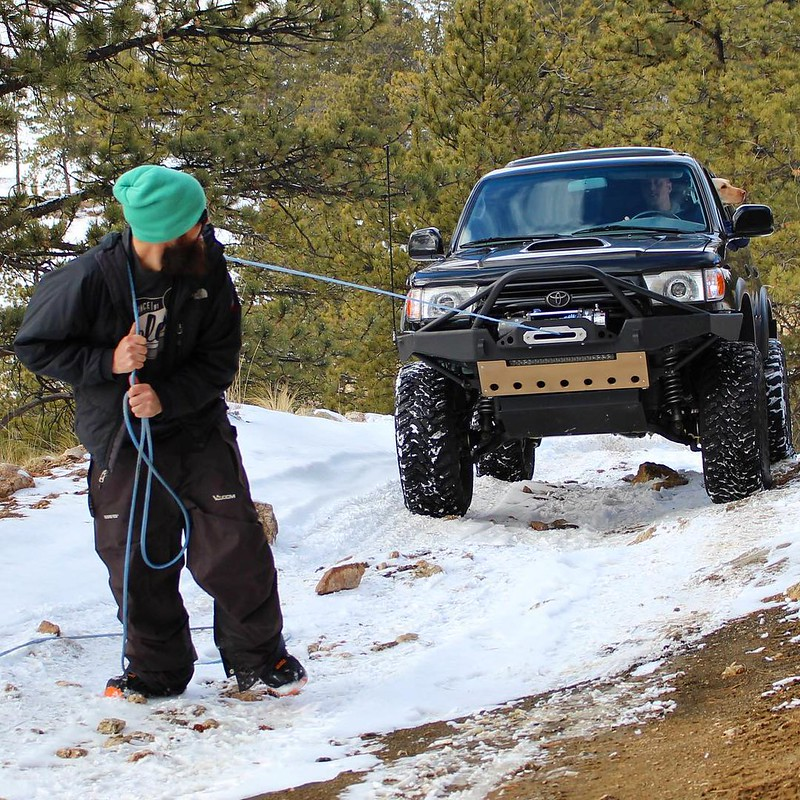 Toytec Lifts: 4Runner in the snow with winch cableSnow January 2017