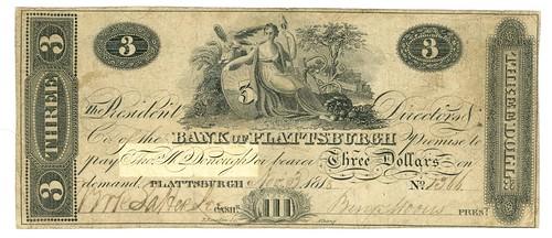 Bank of Plattsburgh Three Dollar note