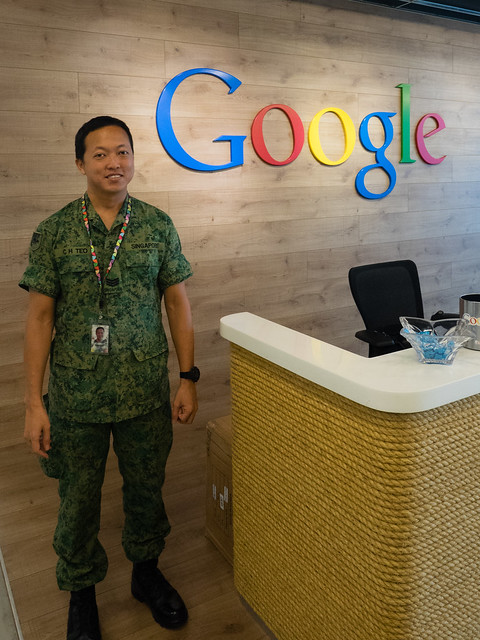 Wearing Army Green at Google Singapore