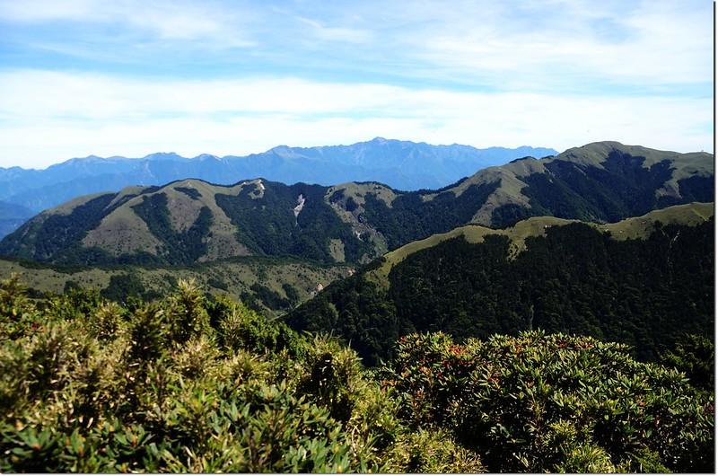 合歡山北眺合歡西、北峰連稜,遠方為雪山山脈