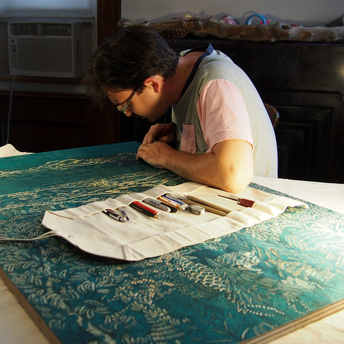 "Carving the ""OVERLOOK"" Woodcut Sky 
