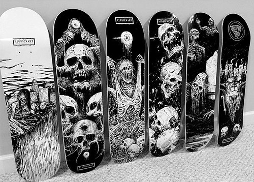 Board Pusher skateboards with Mark Riddick artwork