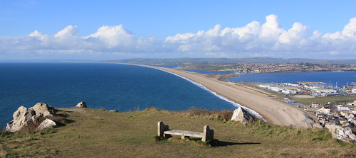Portland Island - Tout Quarry Sculpture Park - view to Chesil Beach
