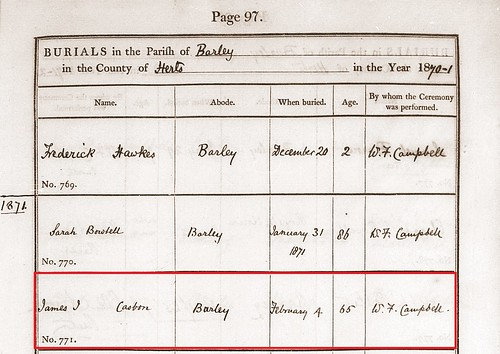 James Casbon b.1806 burial 1871 Barley