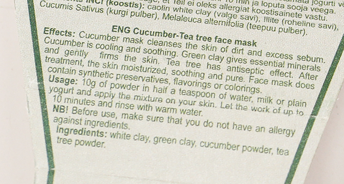 Signe Seebid Cucumber-Tea Tree face mask