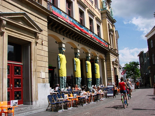 Winkel van Sinkel Caryatids ready for Tour de France. The restaurant and café decorates for the cycling race beginning in Utrecht.