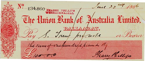03 The Union Bank of Australia Cheque 1886