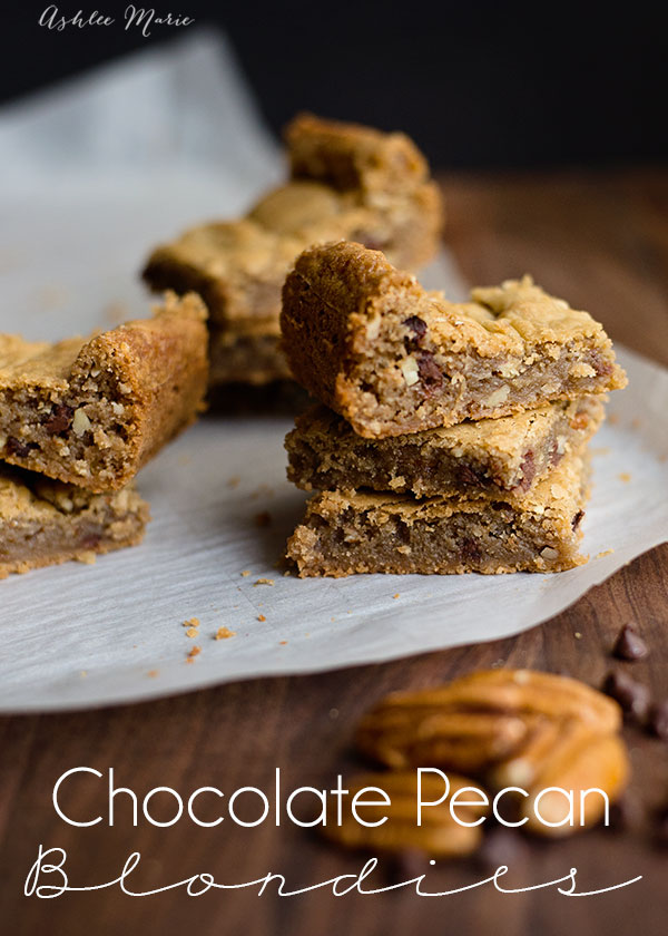 Chocolate chip pecan blondies are soft, gooey and delicious, the perfect treat