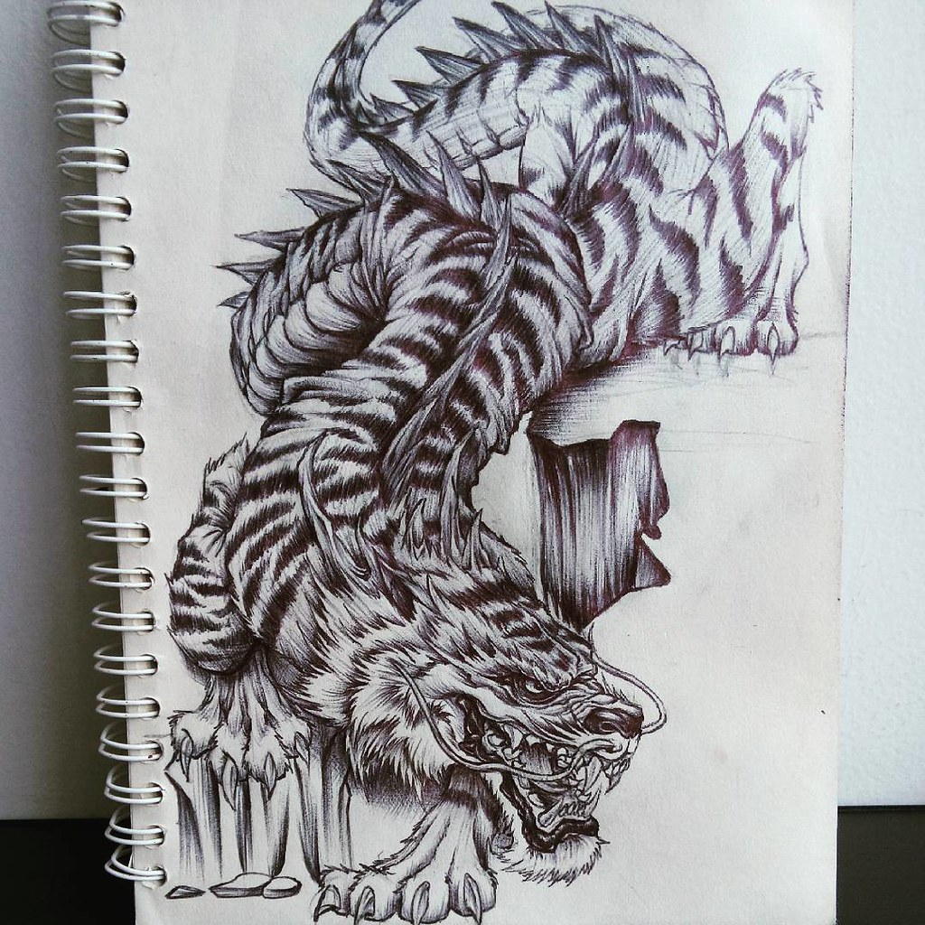 Tiger Dragon Chest Tattoo: Tiger/dragon #orientaltattoo #tattoos #tattooartist #tatto