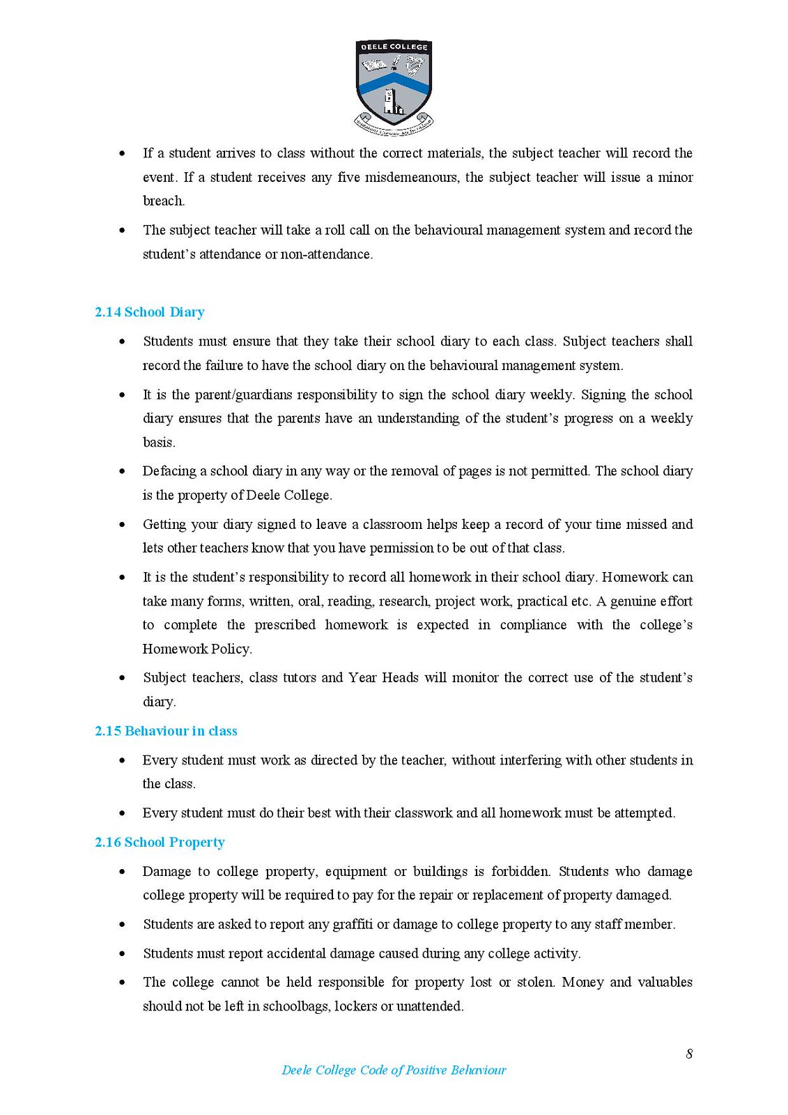Deele College Code of Positive Behaviour Booklet 2016-page-008