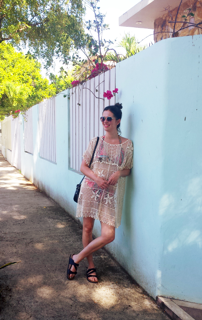 crochet beach cover up and Birkenstocks in Ocean Park, San Juan