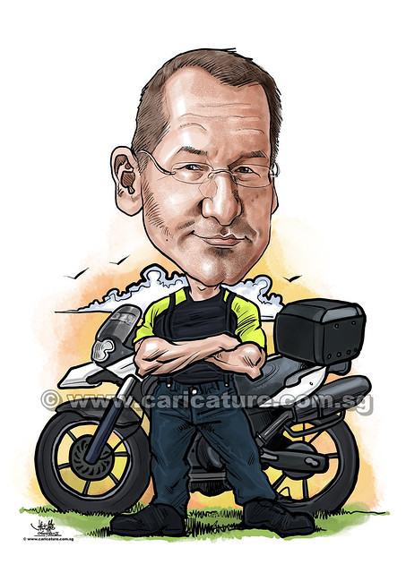 digital caricature of Motorcyclist (watermarked)