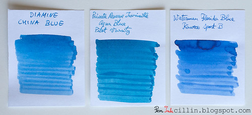 Diamine China Blue vs PR Invincible Aqua Blue vs Waterman Florida Blue