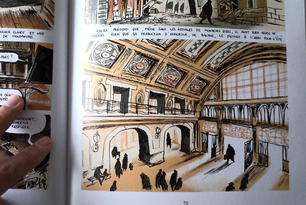 """Gare principale de Lisbonne dans le roman graphique """"Pereira prétend""""."""