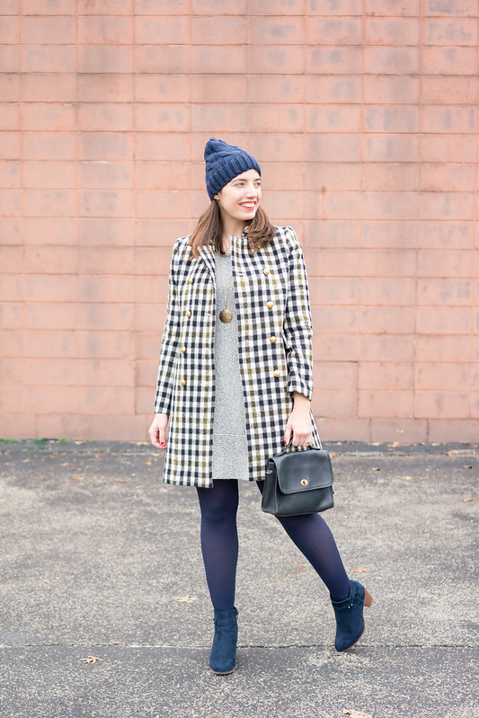gray sweater knit dress + J.Crew oxford plaid check coat + navy beanie + navy ankle boots; winter work outfit | Style On Target blog
