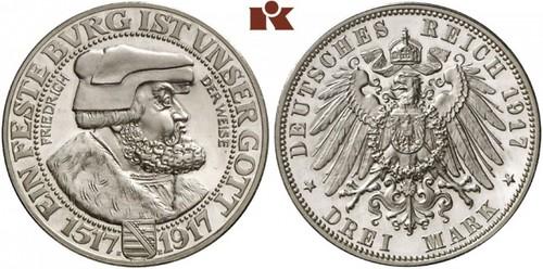 Lot 4134: Friedrich August III., 3 Mark 1917