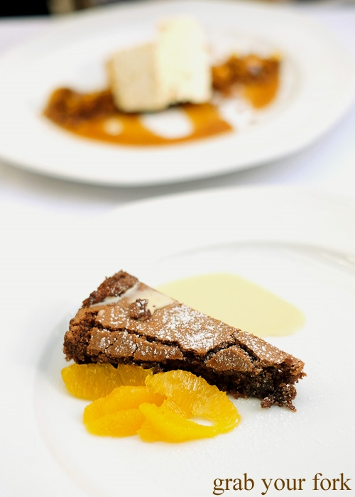 Gingered oranges and rich flourless chocolate cake at Geoff Jansz Farm Table Restaurant, Mittagong