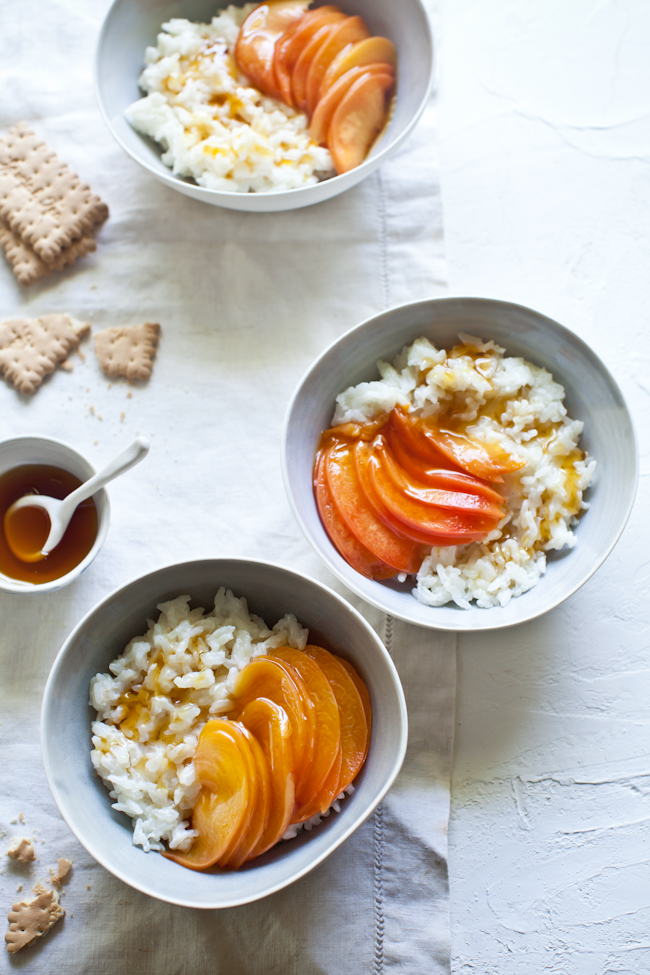 Chilled Rice Pudding with Citrus & Honey Poached Peaches