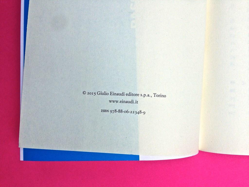 Mario Tozzi, Tecnobarocco. Einaudi 2015. Responsabilità grafica non indicata [Marco Pennisi]. Pagina del colophon / verso della p. dell'occhiello, a pag. II (part.), 4