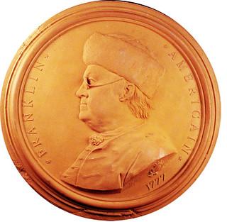 Benjamin Franklin terra cotta medal