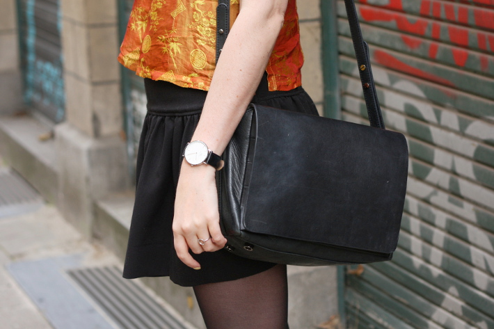 outfit: mustard silk cheongsam top, skater skirt, leather satchel