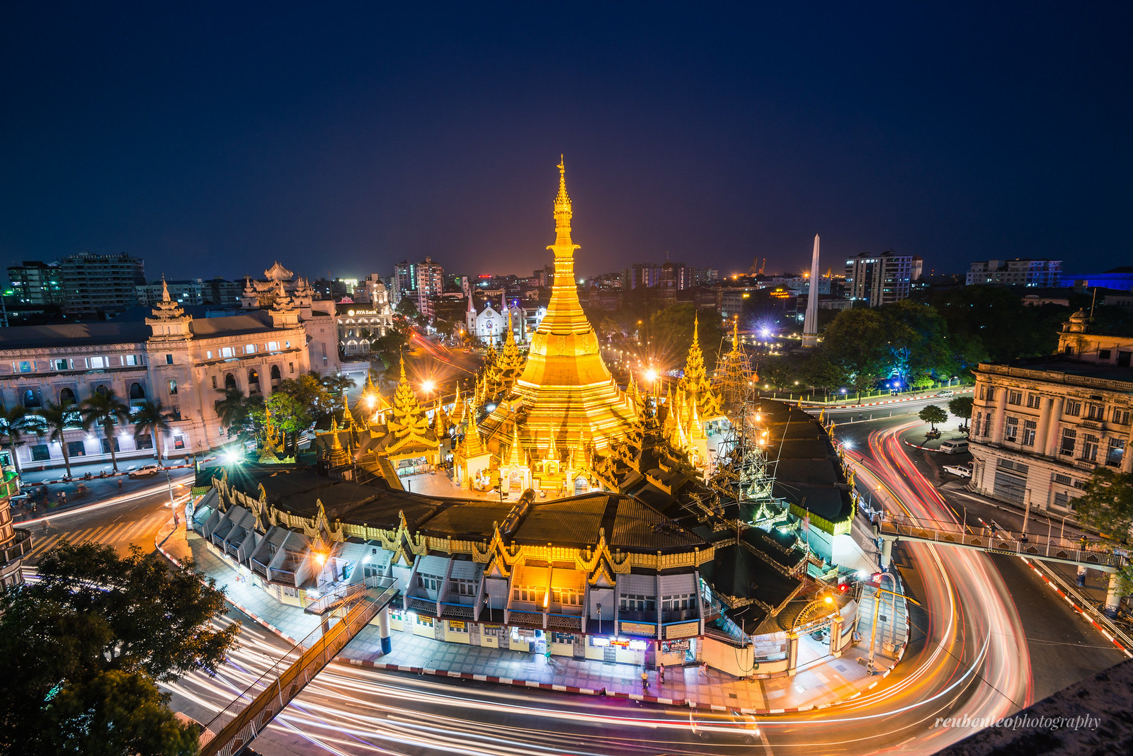 Sule Pagoda at Dusk