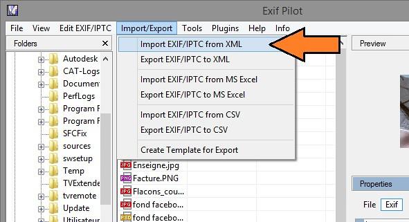 Importer données EXIF