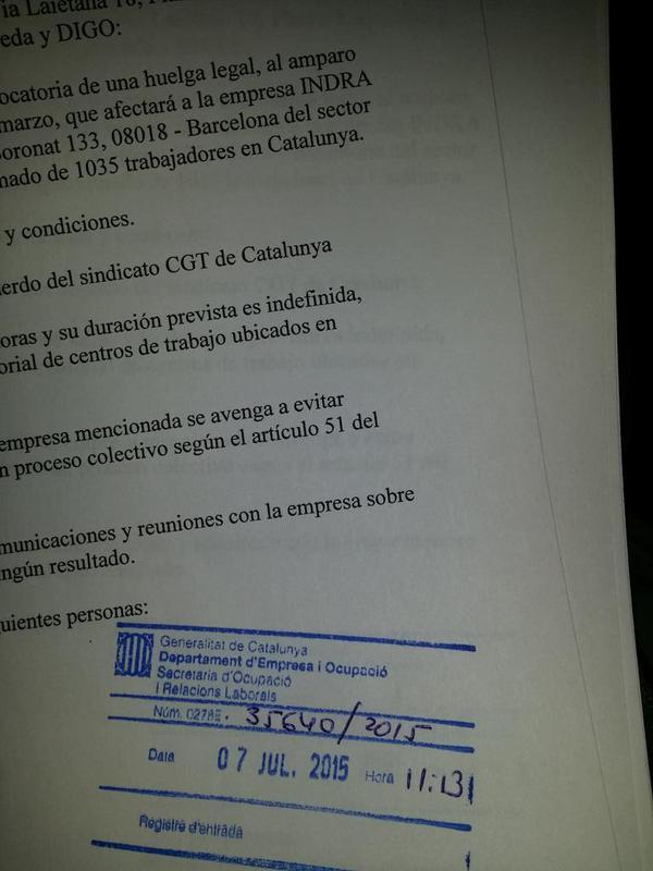 imatge registre CGT Catalunya devaga indefinida a Indra davant l´ERO