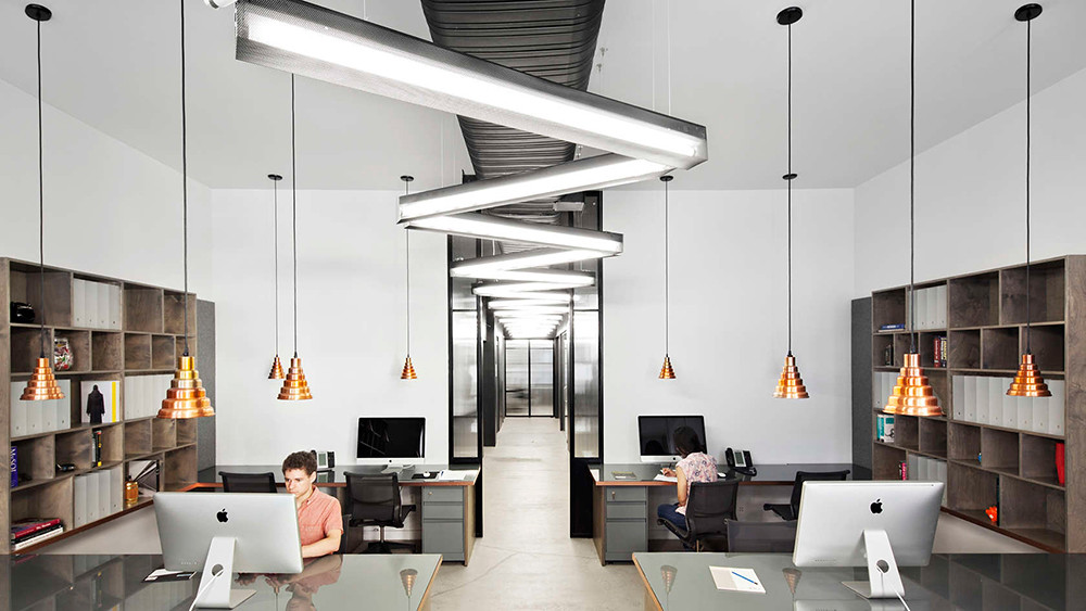 Office space design of the former firehouse in New York Sundeno_01