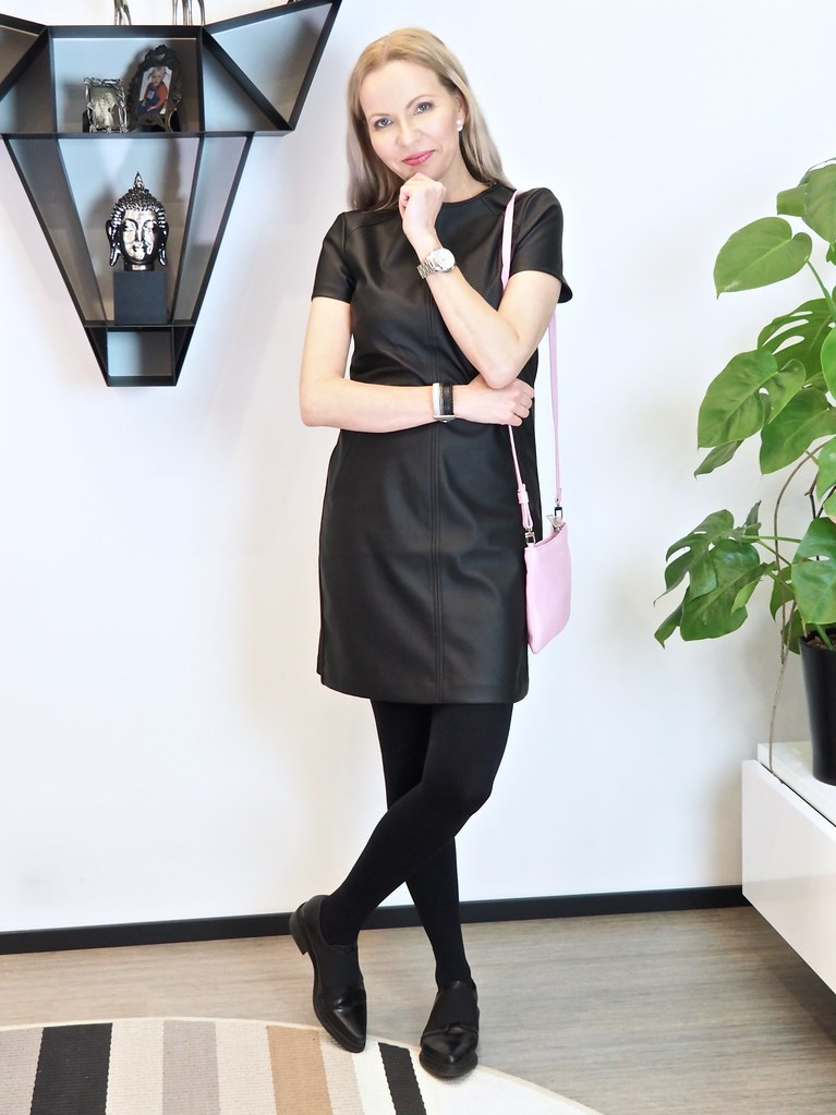 Oasis faux leather dress Marimekko clutch
