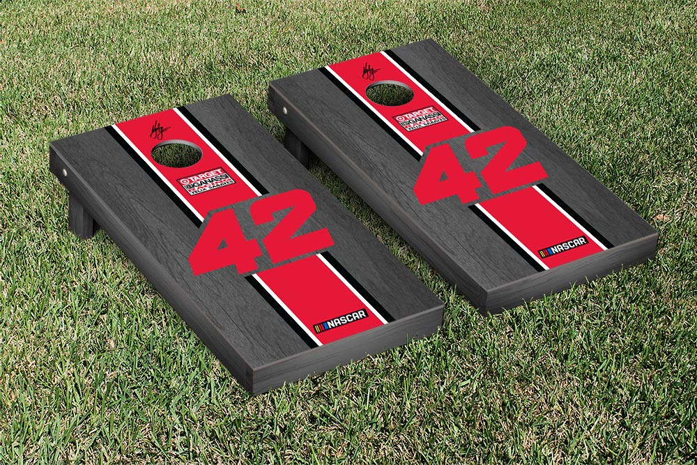 KYLE LARSON #42 CORNHOLE GAME SET ONYX STAINED STRIPE VERSION (1)